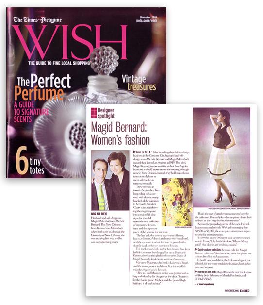 "MAGID BERNARD in The Times Picayune ""Wish"" Magazine"